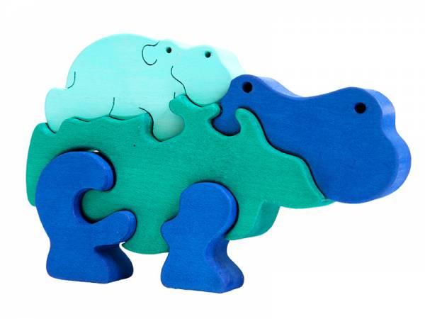 Puzzle Tierfamilie Nilpferd türkis