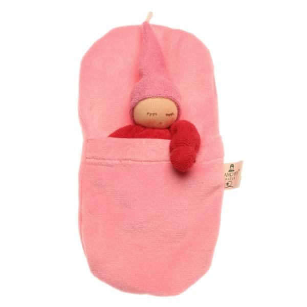 Wichtel im Schlafsack rot