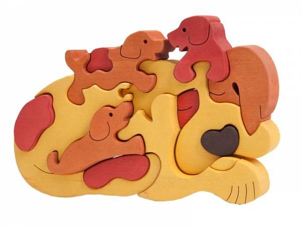 Puzzle Tierfamilie Hund braun