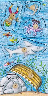 Stempel-Puzzle Gefährliche Fische
