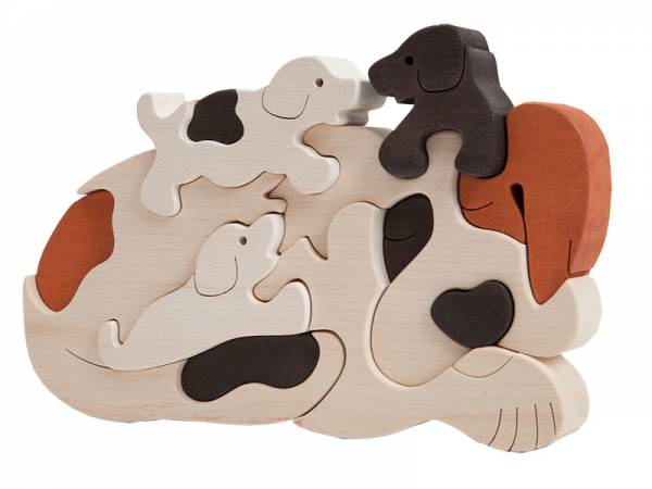 Puzzle Tierfamilie Hund hell