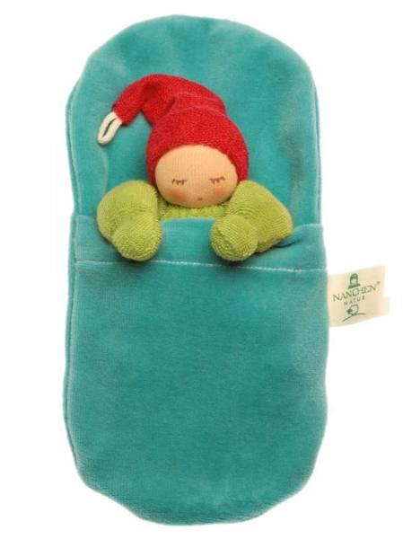 Wichtel im Schlafsack grün-türkis