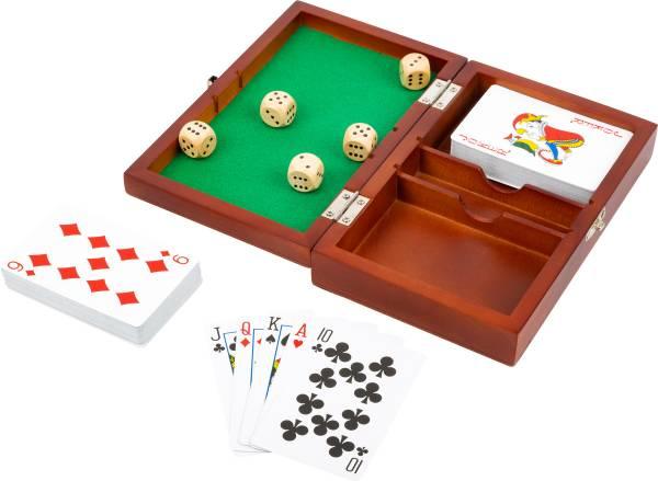 Spielbox Karten und Würfel