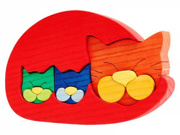 Puzzle Tierfamilie Katze rot