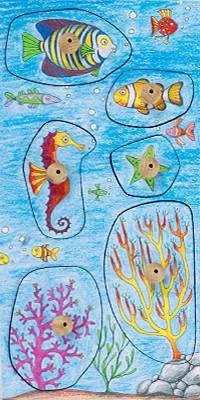 Stempel Freundliche Fische Unterwasserwelt