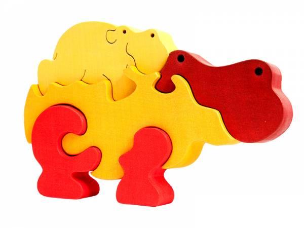 Puzzle Tierfamilie Nilpferd orange
