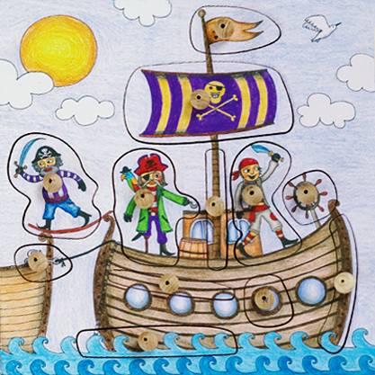 Stempelspiel Piratenschiff